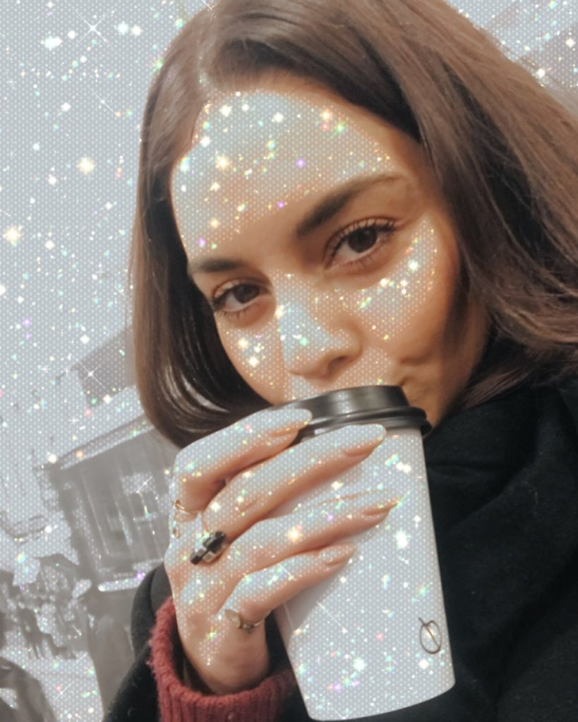 Vanessa Hudgens With a Sparkly Cup on Instagram