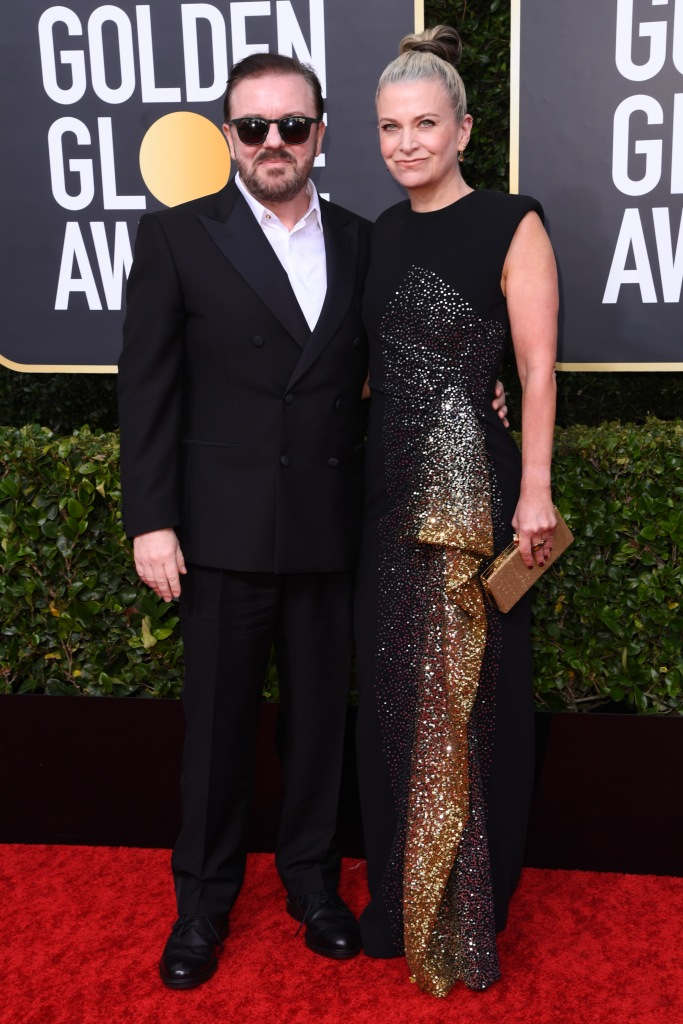 ricky-gervais-and-jane-fallon-at-the-77th-annual-golden-globes