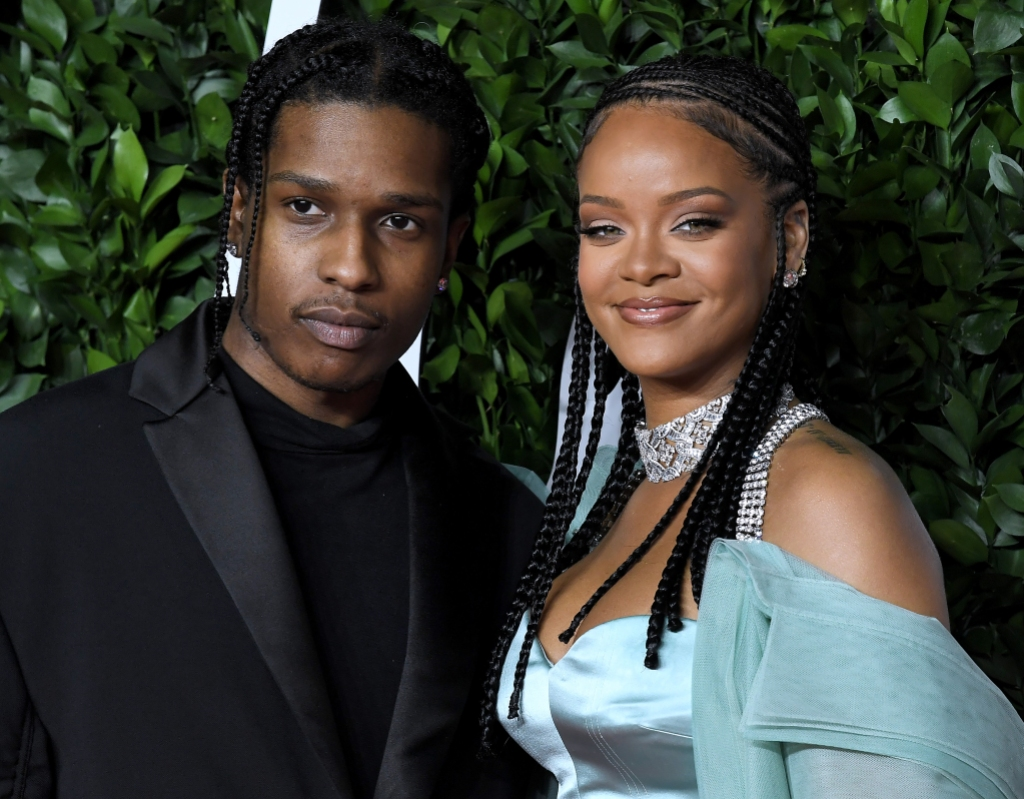 rihanna and asap rocky pose together on the 2019 fashion awards red carpet