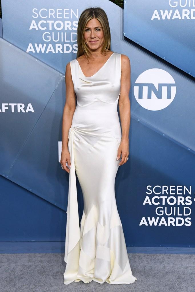 Jennifer Aniston White Silk Dress SAG Awards Red Carpet 2020
