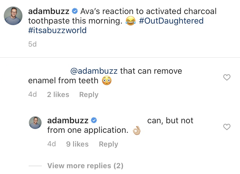 Adam Busby Claps Back After Troll Slams Him for Using Activated Charcoal Toothpaste on His Quints comment