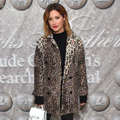 Ashley Tisdale Wearing a Fur Jacket
