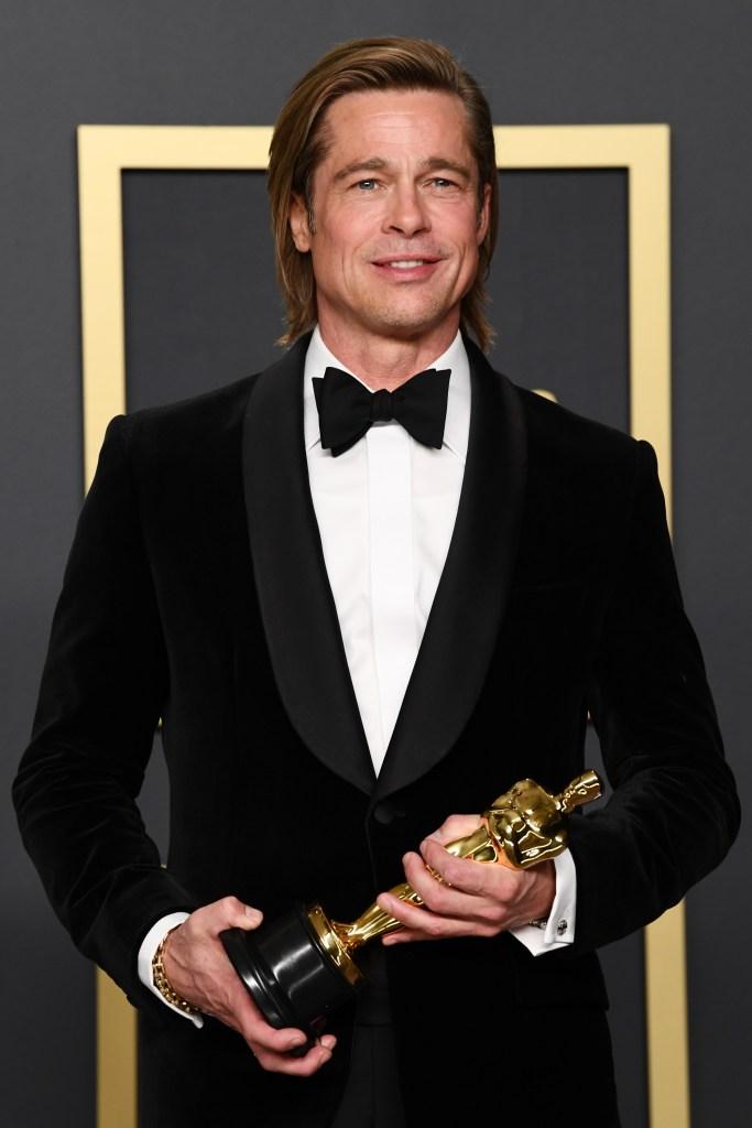 Brad Pitt With an Oscar at the Awards