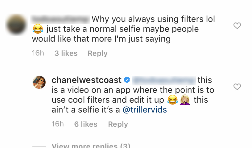 Chanel West Coast Clapping Back at Trolls