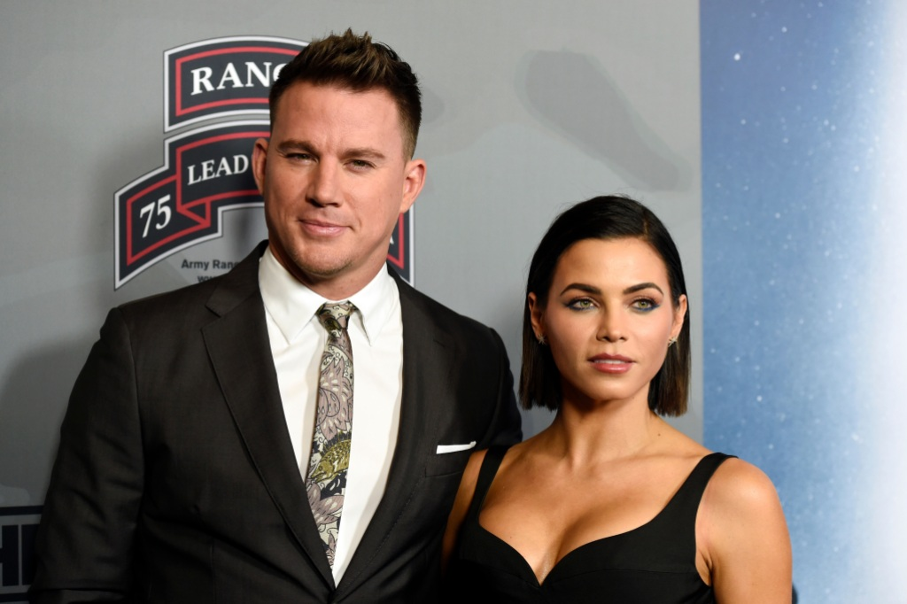 Channing Tatum Wearing a Suit With Jenna Dewan in Black
