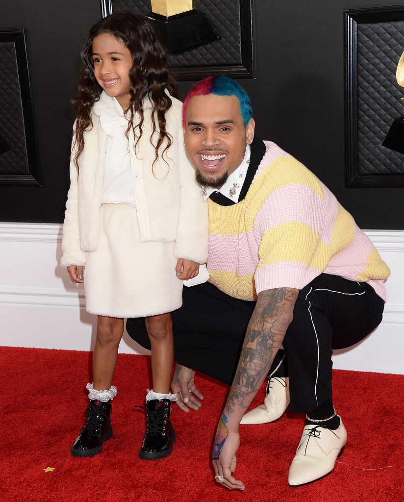 Chris Brown With His Daughter at the Grammys