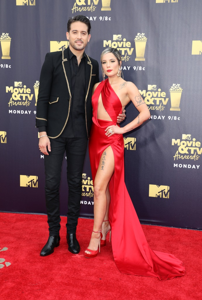 G-Eazy Wearing a Suit With Halsey in a Red Dress