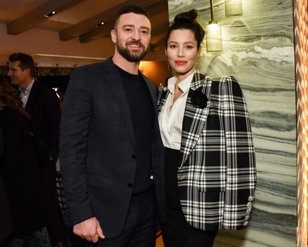 Justin Timberlake Wearing a Black Suit and Tie With Jessica Biel in Plaid