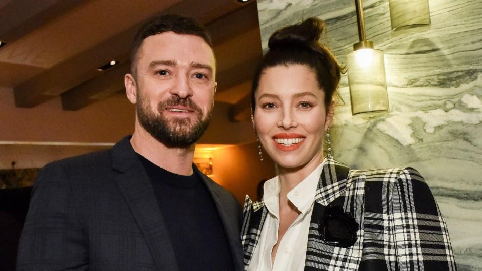 Jessica Biel Wearing Plaid With Justin Timberlake