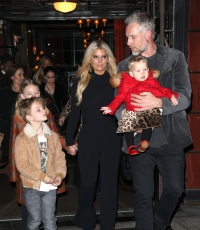 Jessica Simpson Wearing a Black Dress With Her Husband and 3 Kids in NYC