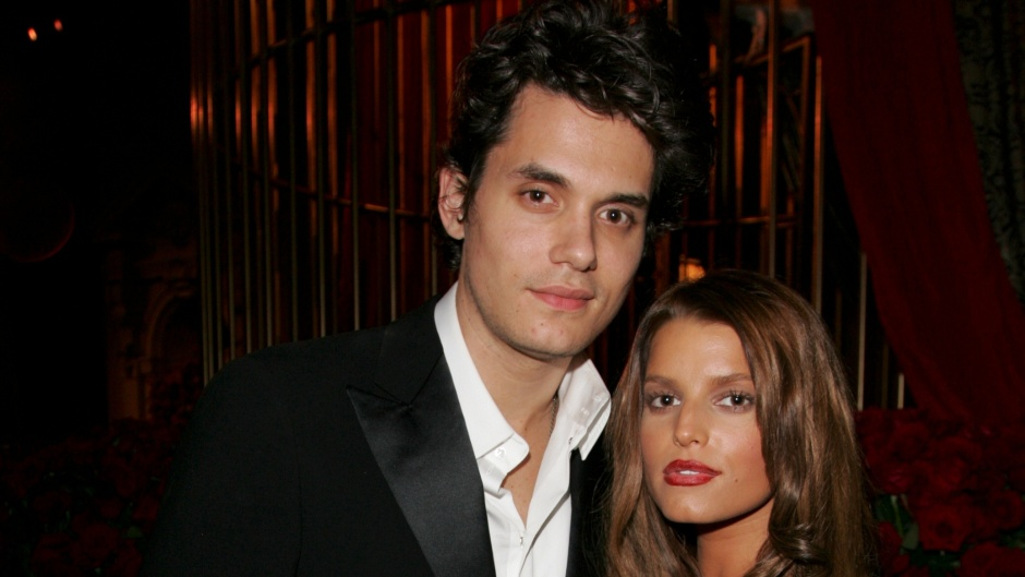 John Mayer Wearing a tuxedo With Jessica Simpson in a Silver Dress