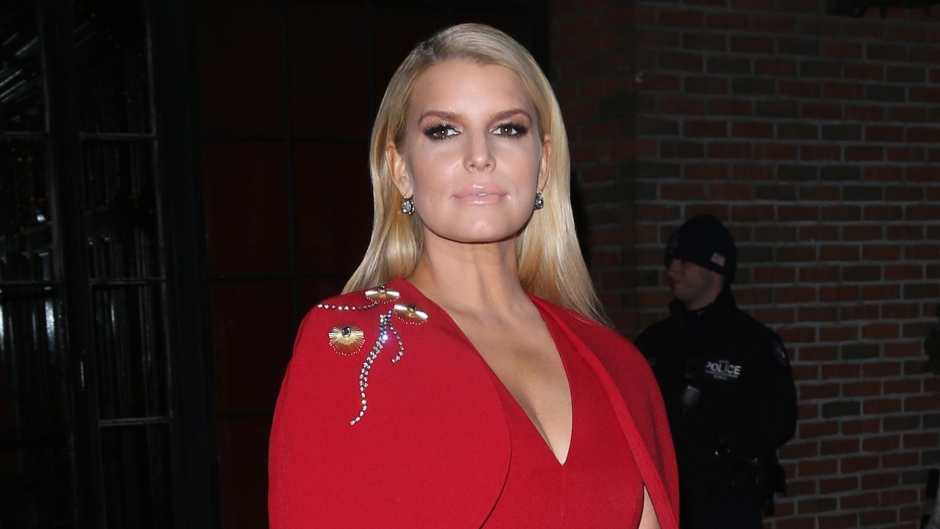 Jessica Simpson Wearing a Red Top