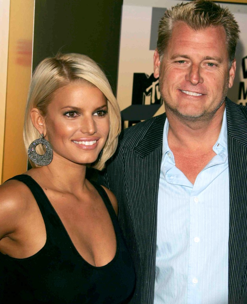 Jessica Simpson Wearing a Black Top With Dad Joe Simpson