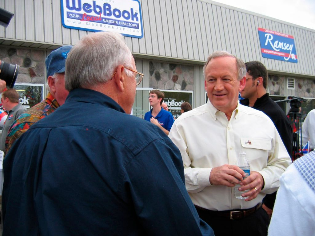John Ramsey, father of slain beauty queen JonBenet Ramsey, mingles with supporters, after announcing his candidacy for the Michigan House of Representatives in Charlevoix, Mich