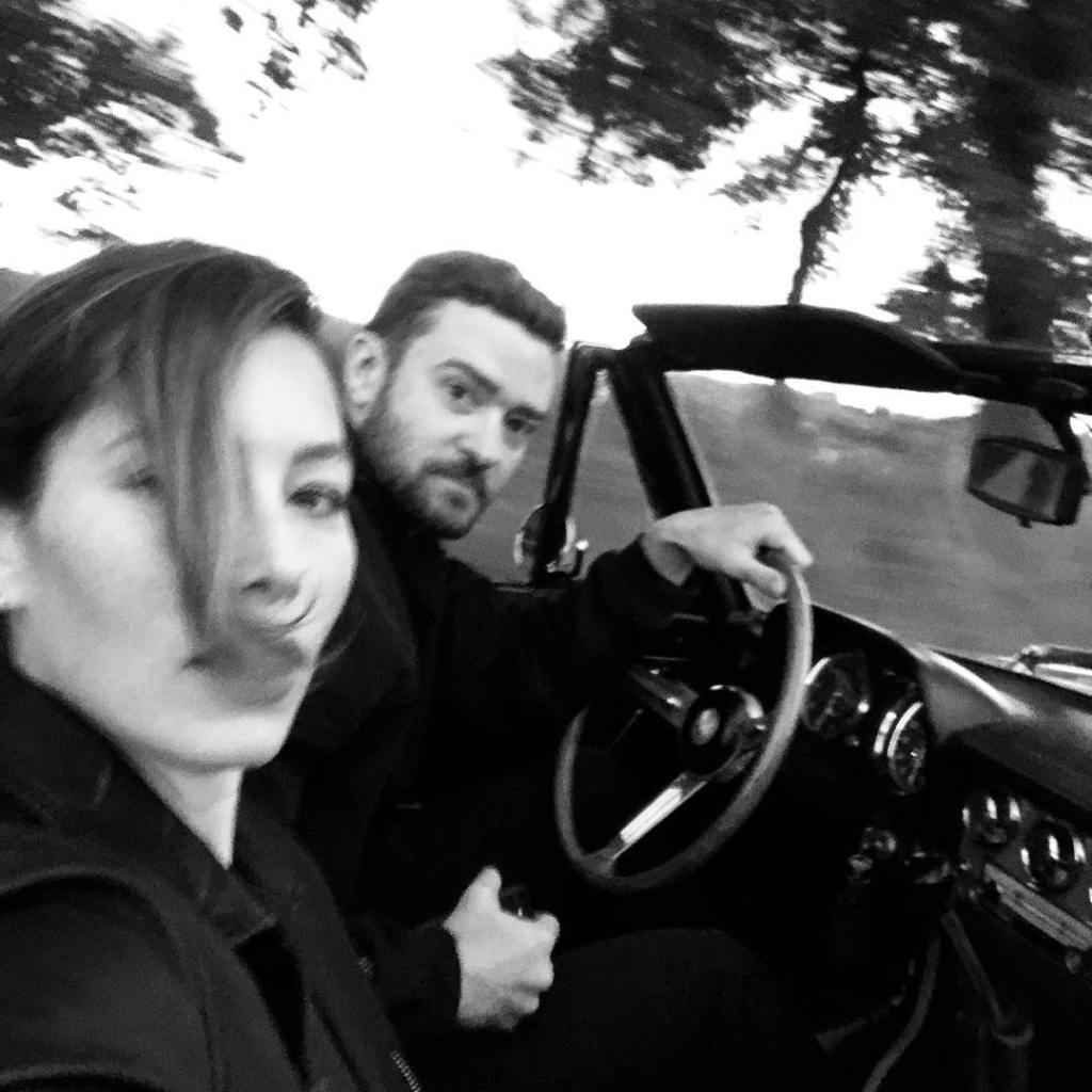 Justin Timberlake and Jessica Biel in a Car Together