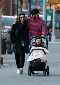 Justin Timberlake Wearing a Plaid Shirt With JEssica Biel and Their Son Silas