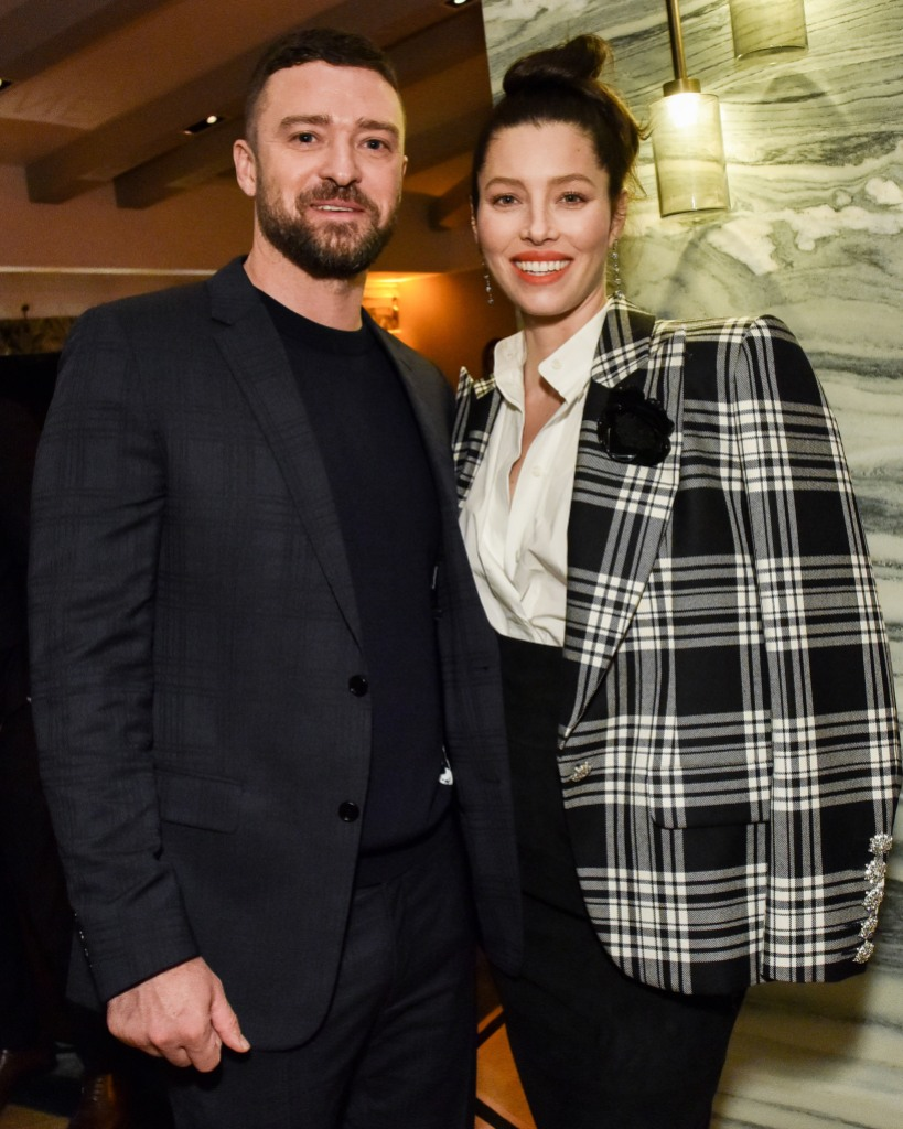 Justin Timberlake Wearing a Suit With Jessica Biel