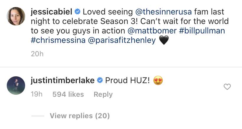 Justin Timberlake Commenting on Jessica biel's Post