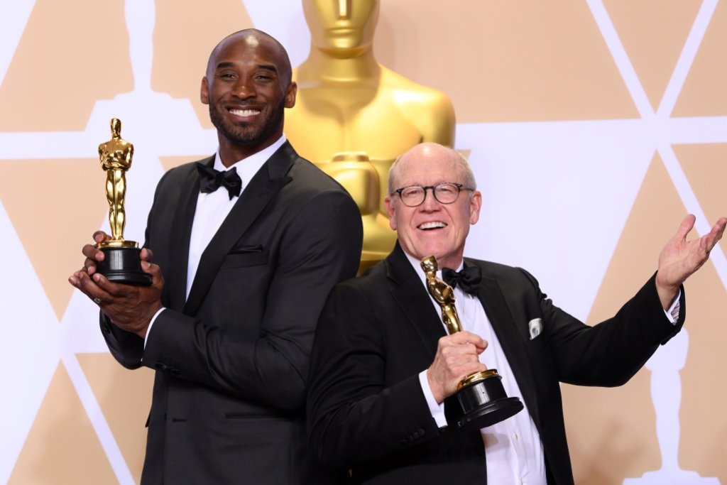 Kobe Bryant With His Statue at the Oscars