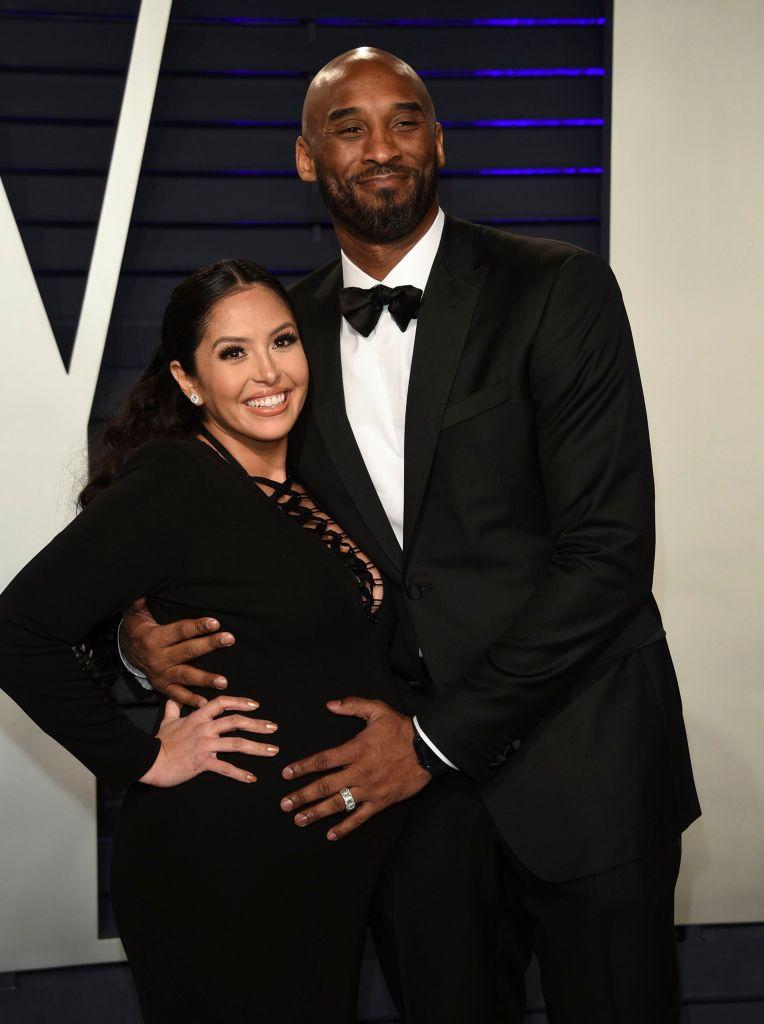Kobe Bryant Wearing Black With Vanessa Bryant