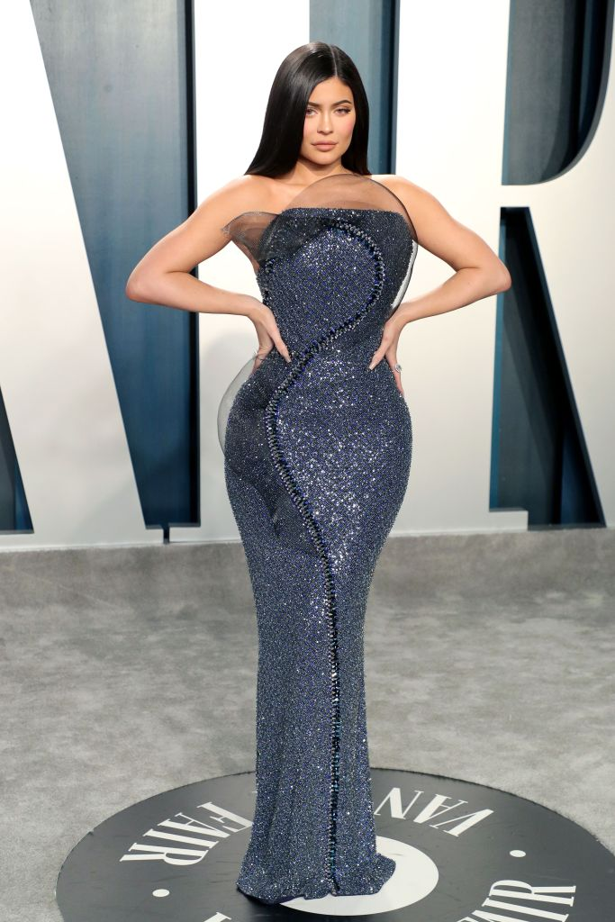 Kylie Jenner Wearing a Sequin Gown at the Oscars Afterparty