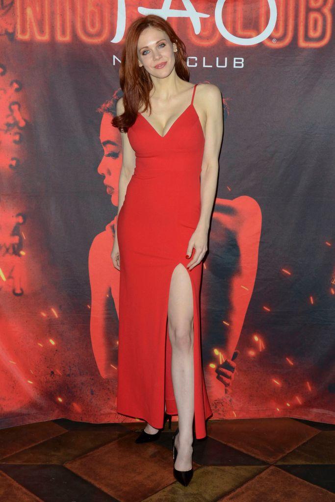 Maitland Ward Wearing a Red Dress