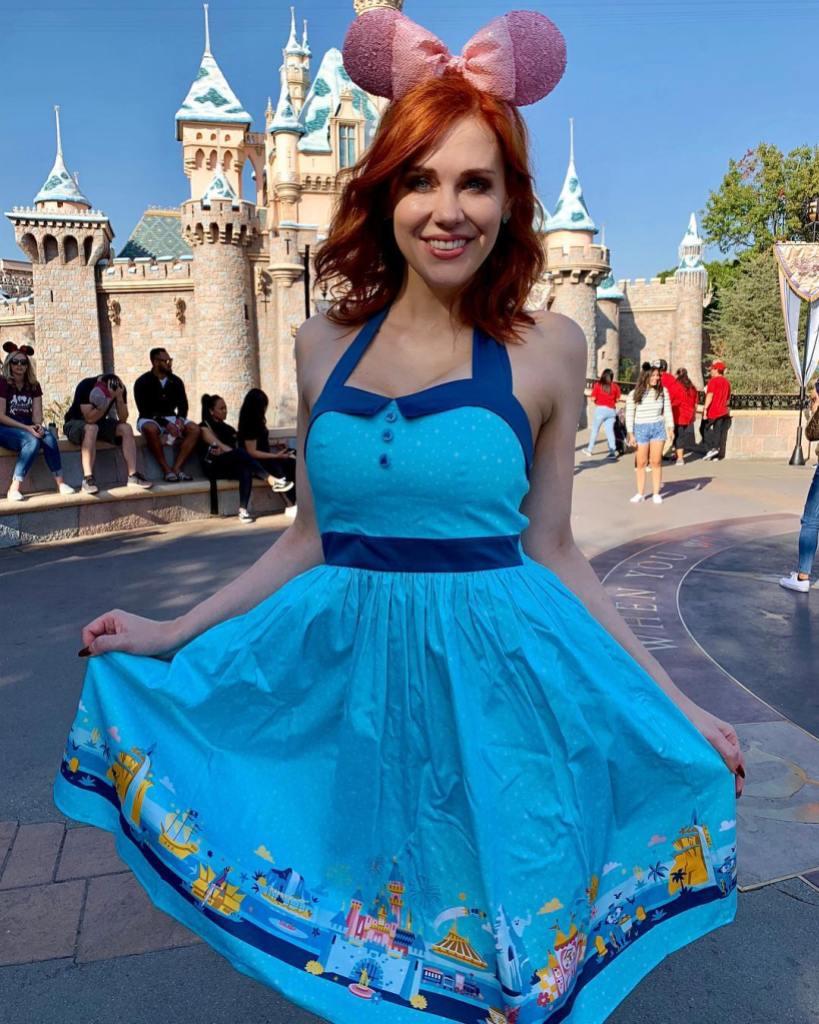 Maitland Ward Wearing a Blue Dress at Disney