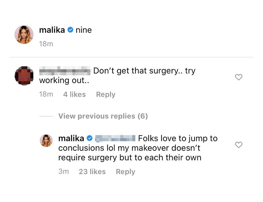 Malika Haqq Slams Rumors She's Getting Surgery for Her Makeover
