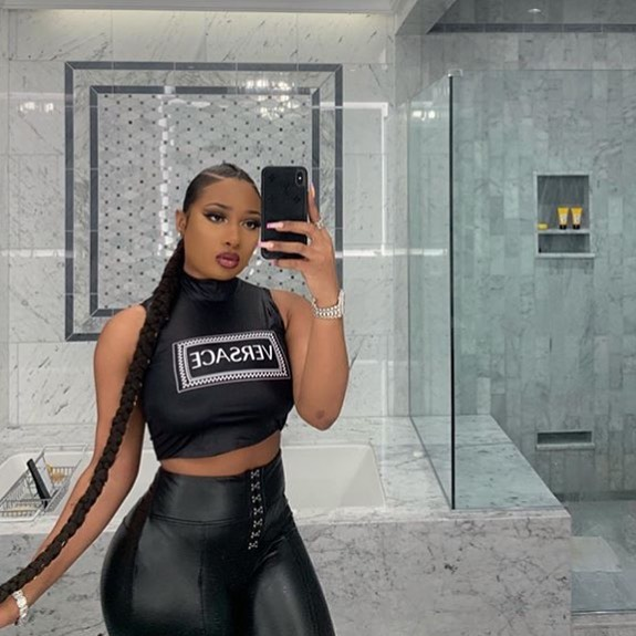 Megan Thee Stallion Taking a Photo of Herself in the Bathroom