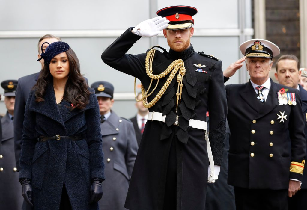 Meghan and Harry Wearing Black Saluting the Queen