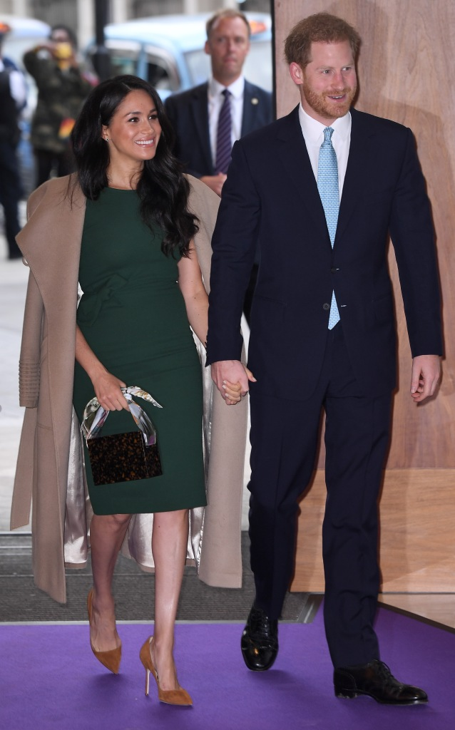 Meghan Markle Wearing Green Holding Hands With Prince Harry