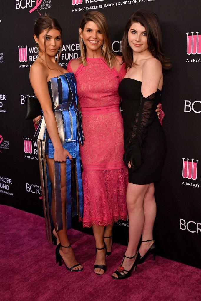 Olivia Jade Wearing a Blue Dress With Lori Loughlin and Isabella