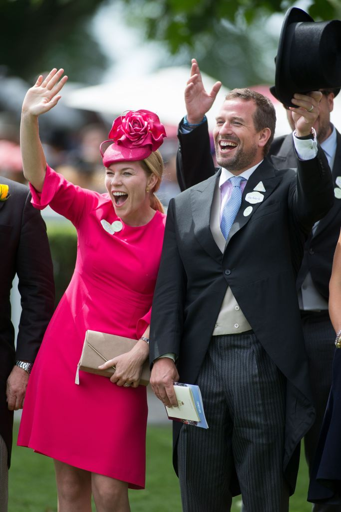 Autumn Phillips Wearing a Pink Outfit With Peter Phillips
