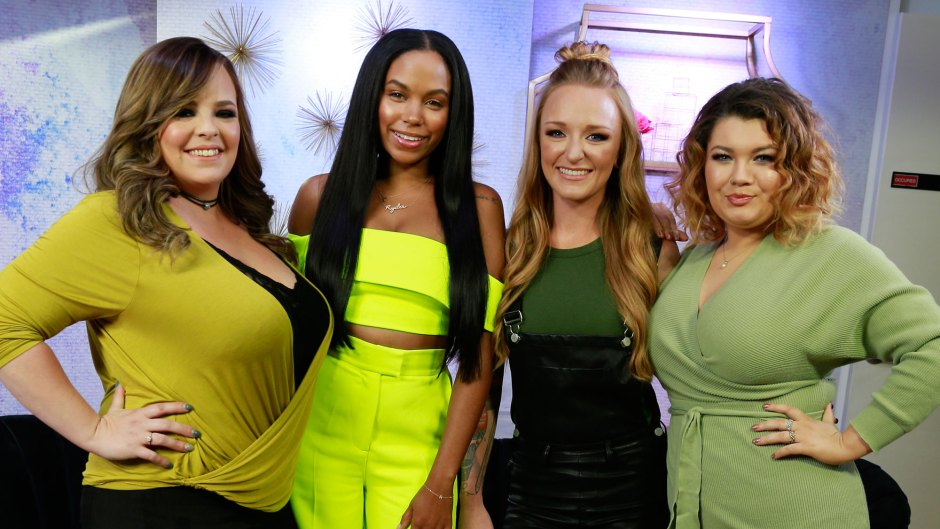 From left to right, Catelynn Lowell, Cheyenne Floyd, Maci Bookout and Amber Portwood from MTV's Teen Mom pose for a photograph in the AMI studio, May 21, 2019 in New York.