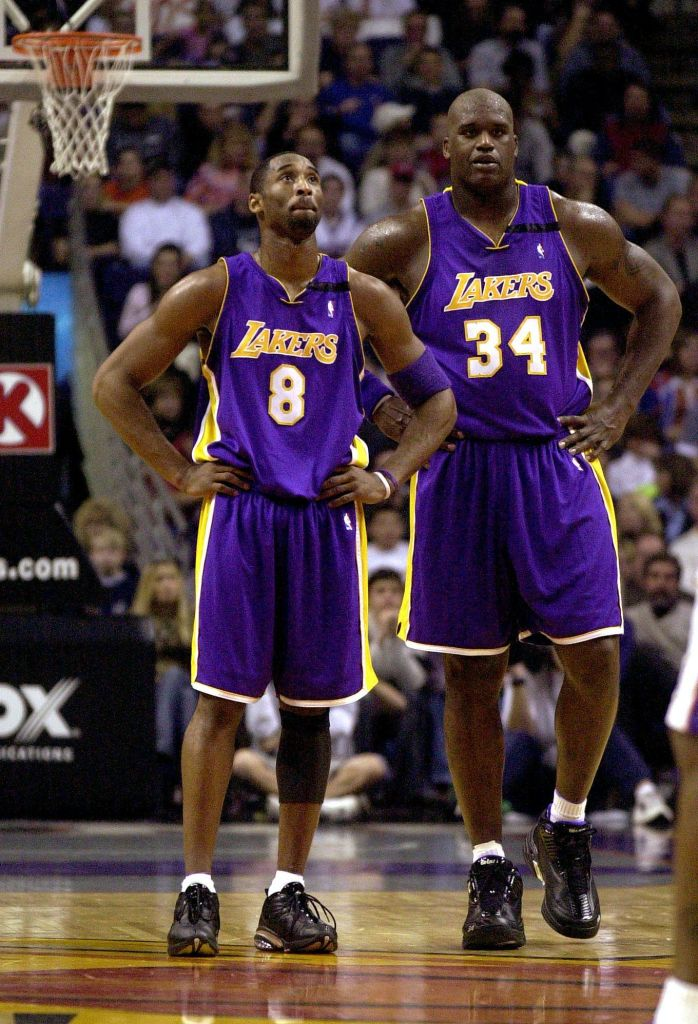 Shaq and Kobe Bryant Wearing Lakes Outfits on the Court