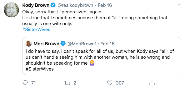 'Sister Wives' Star Meri Brown Shades Husband Kody on Twitter- He 'Shouldn't Be Speaking For Me' inline 2