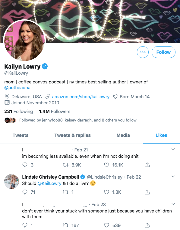 'Teen Mom 2' Star Kailyn Lowry 'Likes' Tweet About Not Feeling 'Stuck' in a Relationships Because of Children likes