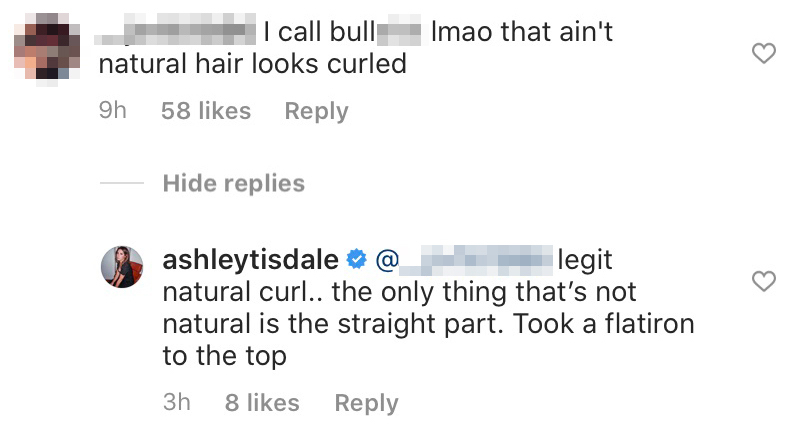Ashley Tisdale Responds to Hater About Her Hair