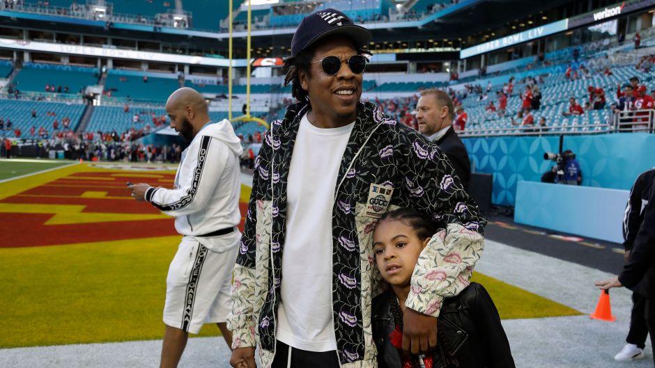 Jay Z and Blue Ivy Super Bowl LIV 49ers Chiefs Super Bowl Football, Miami Gardens, USA - 02 Feb 2020