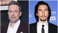 Ben Affleck Smiles in Purple Suit and White Button Down Shirt in Split Image With Adam Driver in Black Suit