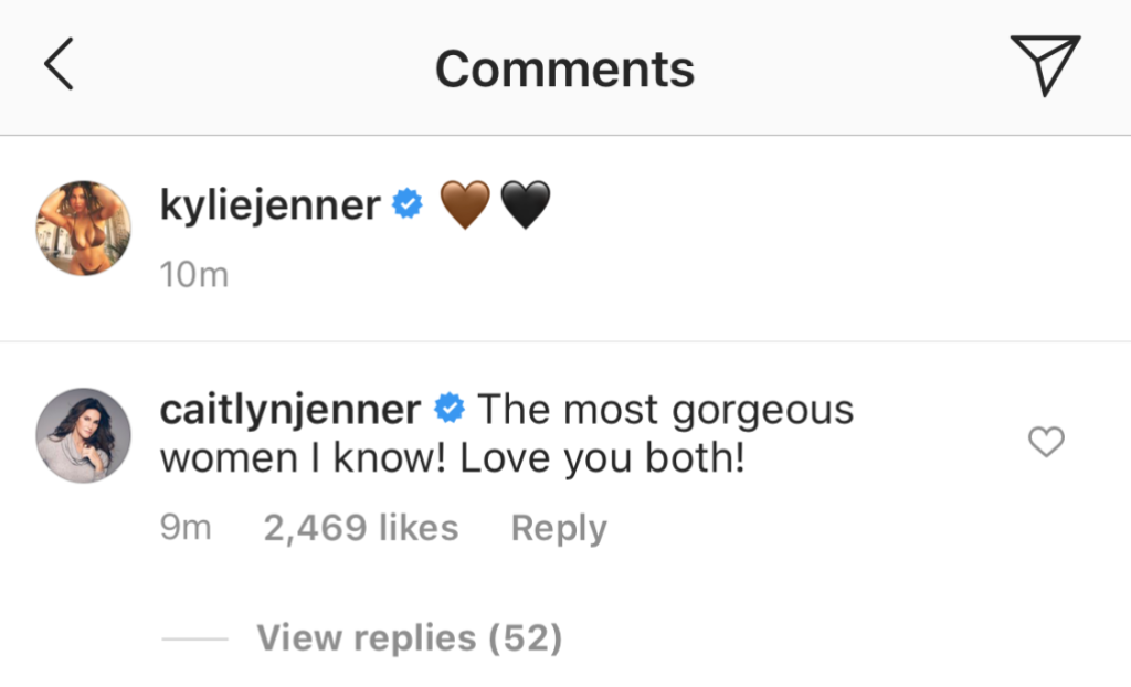 Caitlyn Jenner Comments on Kylie and Kim's Photo