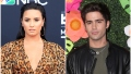 Demi Lovato Wears Cheetah Print Dress and Hoop Earrings With Hair Slicked Back in Split Image With Max Ehrich in Green Tshirt and Leather Jacket