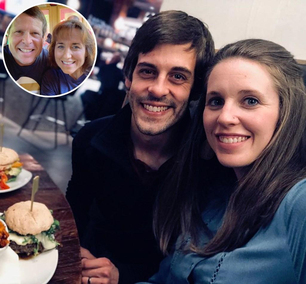 Inset Photo of Jim Bob and Michelle Duggar Over Photo of Derick Dillard and Jill Duggar