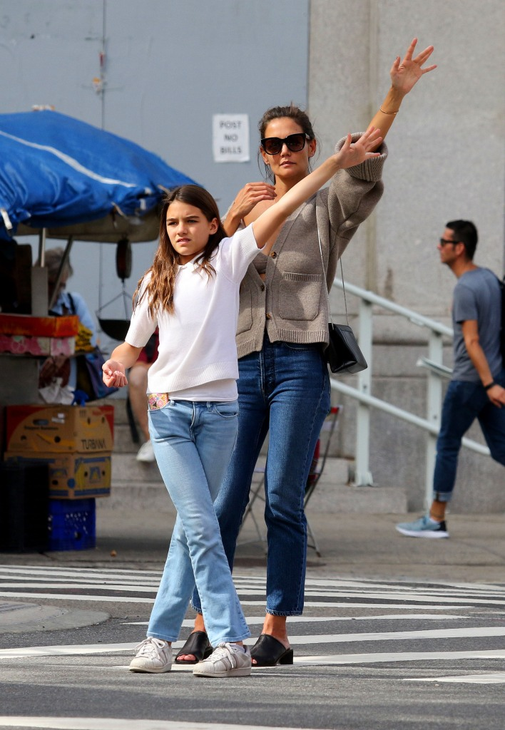 Katie Holmes Suri Cruise Hailing a Cab in NYC