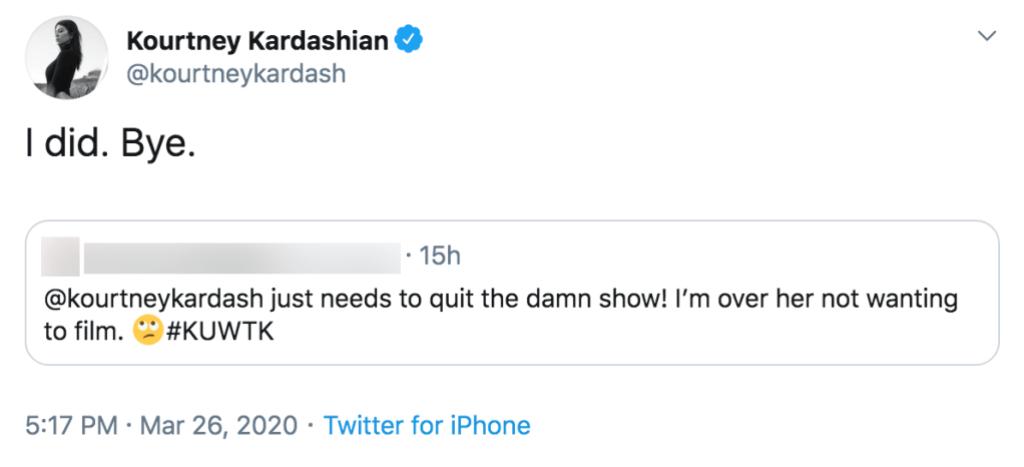 Kourtney Kardashian Claps Back at Fan Who Tells Her to Quit 'KUWTK'