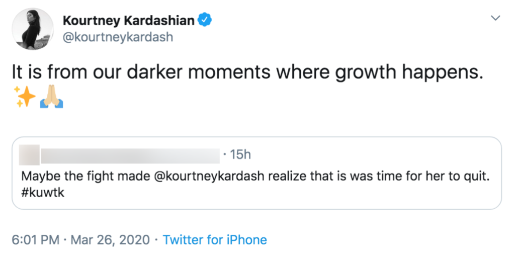 Kourtney Kardashian Hints Fight With Kim Led Her to Quit KUWTK