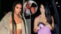 Inset Photo of Kourtney and Kim Fighting Over Side-by-Side Photos of Kim Kardashian and Kourtney Kardashian