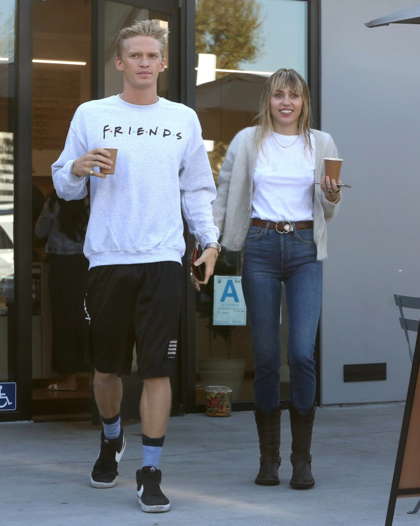 Cody Simpson and Miley Cyrus Smile and Get Coffee