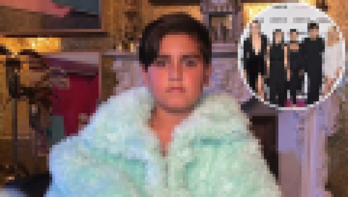 Inset Photo of Kardashian-Jenners Over Photo of Mason Disick
