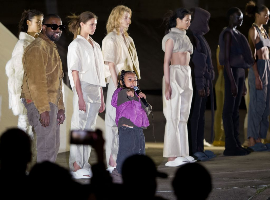 North West and Kanye West On Stage at Yeezy Fashion Show in Paris